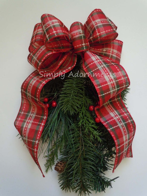 Vintage Red Ivory Tartan Christmas Wreath Bows Rustic Country Plaid Christmas Bows Red Green Vintage Holidays Plaid Bow