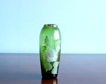Vintage Transparent Vase, Hand Painted Floral Green and White Trim Vase, Floral Art Nouveau Style Cottage Chic Vase, Gift for collectors