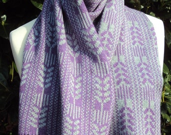 Lavender and gray Cashmere Shawl - Pure Cashmere Scarf - Fair Isle Cashmere Scarf . Violet and grey botanical pattern cashmere scarf.