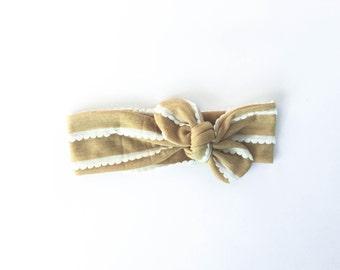 mustard yellow, ruffles, girls accessories, baby headband, boho headband, tie up wrap, top knot - one size fits all
