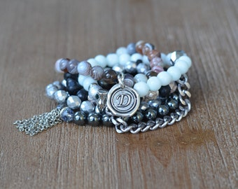 The Grunge Stack - Beaded Stretch Bracelet Stack - Bracelet Stack Set - Gunmetal Black Bead Bracelet - Arm Candy Bracelets - Charm Bracelet