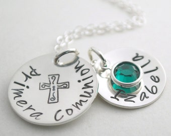Primera Comunion Necklace - First Communion Hand Stamped Necklace with Custom Sterling Silver Initial - Communion Jewelry for Her