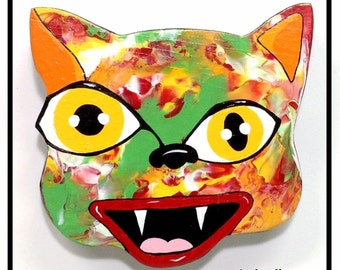 Outsider Folk Art Cat Head, Happy Cat #3, Comical Hand Painted Cat Wall Hanging, Abstract Cat Wood Wall Art, Outsider Cat by Windwalker Art
