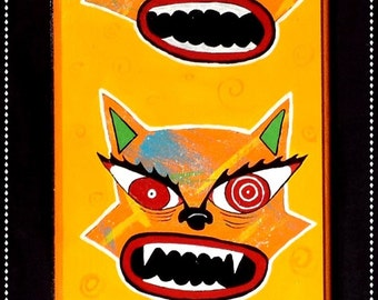"""Outsider Folk Art Cat Wood Wall Plaque, """"Scaredy Cats"""", Comical Hand Painted Cats Wood Wall Hanging, Original Outsider Cat by Windwalker Art"""