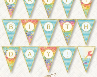Rainbow Mermaid Happy Birthday Banner Printable Bunting Instant Download party flag watercolor scales tail waves gold foil glitter pdf