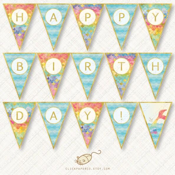 Rainbow Mermaid Happy Birthday Banner Printable Bunting