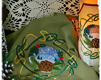 Wheel of the Year - Celtic Knot Yule Embroidered, Candle Wrap and Matching Altar Cloth, Set.