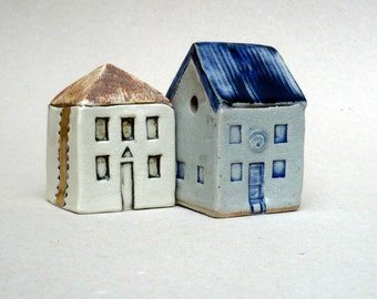 Farmhouse ,  Blue And White , Prairie House ,Ceramic Sculpture  Miniature House,  Cottage