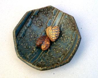Blue  / Green Octagonal Bowl , Footed Bowl , Lace pattern ,Handbuilt Ceramic Bowl
