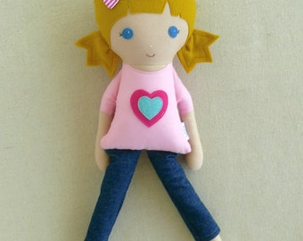 Fabric Doll Rag Doll Blond Haired Girl in Pink Heart T-Shirt and Jeans and Sandals