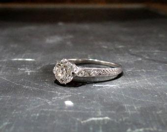 Art Deco Engagement Ring, Old Mine Diamond 1.03ct Ring 18k c. 1920, Antique Engagement Ring, Edwardian Engagement Ring, Vintage Engagement