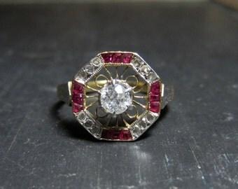 Antique Engagement Ring, Art Deco Old Euro Diamond .20ct and Ruby/Diamond Frame Ring 14k c. 1920, Vintage Engagement Ring, Edwardian Ring