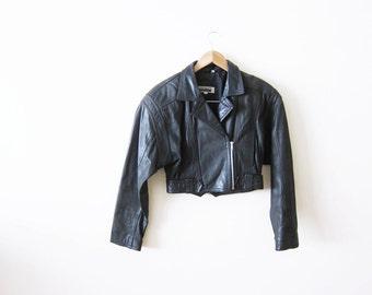 Vintage Leather Jacket / Cropped Womens Moto Jacket / 90s Clothing / Small