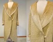 Creamy Faux Persian Lamb Cutaway Opera Coat with Velvet Collar & Cuffs, Silk Trims 1920's
