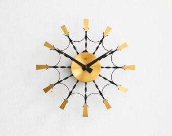 Vintage East German wall clock ebg GDR brass starburst sunburst Mid Century