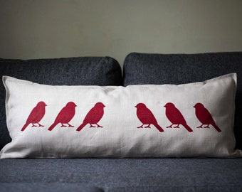 Lumbar pillow - decorative pillows collection with birds print. Birds hand painted in deep red 14x36 inch size