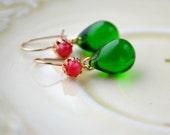 Emerald Drop Earrings, Small Pink & Green Earrings, Kidney Earrings, Emerald Green Jewelry Wife Gift, Kelly Green Dangle Earrings, UK Seller