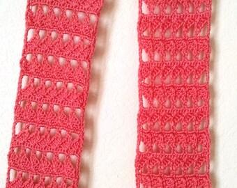Crochet scarf Salmon lacy shells