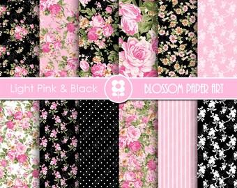 Light Pink Floral Digital Paper, Pink and Black Digital Paper Pack, Floral Digital Scrapbooking Pack - INSTANT DOWNLOAD - 2009