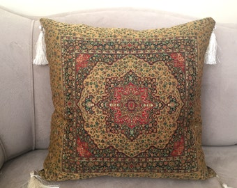 Turkish Pillow Cover, Tile Pillow Cover, Mosaic Pillow Case, Ottomans Pillow Case, Palace Decor