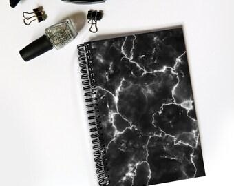 Black marble notebook - minimal style, marble print, marble stationery, minimal desk