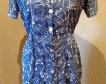 Vintage 1940s Floral Blue Rayon Dress - L
