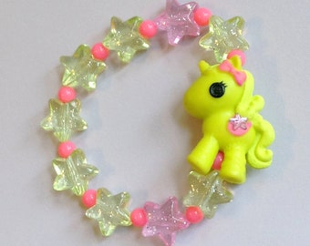 Lalaloopsy Unicorn Stretch Bracelet with Pastel Glitter Stars and Neon Pink Beads
