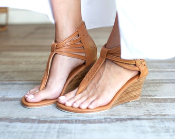 BORA BORA. Leather wedges/ sandals / women shoes / heels / leather shoes / wedge shoes. Sizes 35-43. Available in different leather colors