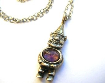 Sterling Silver Gnome Necklace - Sterling Silver Elf Necklace - Amethyst Necklace - 925 Gnome Necklace - Jelly Belly Necklace