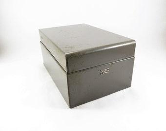 Vintage Index Card File, Metal Card File Adjustable Divider, HON File Box, Gray Index Card File Box, Recipe Card File, Industrial File Box