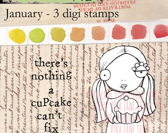 January _ Whimsical girl with cupcake and two sentiments - 3 digi stamps