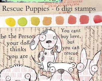 Rescue Puppies - 6 digi stamp set