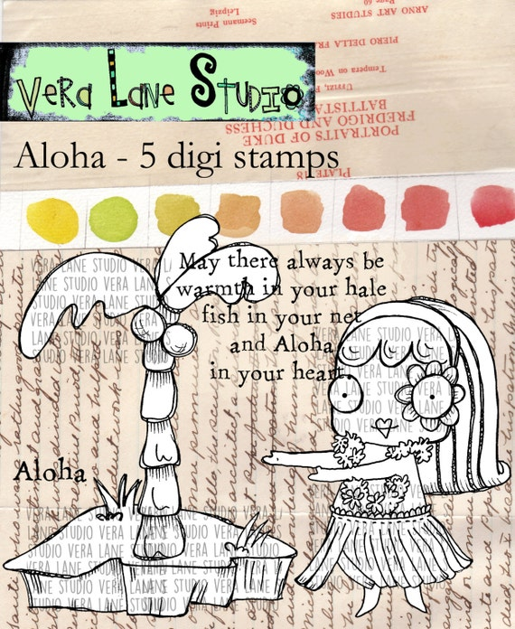 Aloha - whimsical hula gal digi stamp set bundle available for instant download