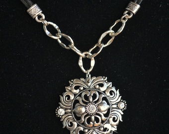 Black Leather Silver Disc Pendant Necklace, Silver Sundial, Silver Rococo Style, Silver Rhinestone Disc Pendant, Leather Cord Necklace