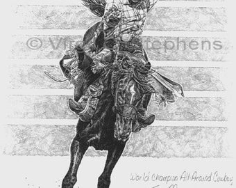 Rodeo art, World Champion Ty Murray, drawing of rodeo cowboy, NFR rodeo, western cowboys, western drawing, rodeo print