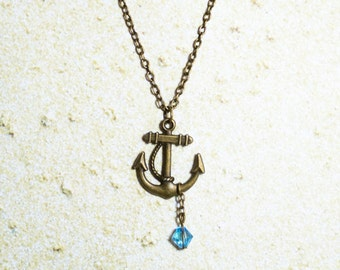 Antique Bronze Anchor Necklace with Blue Crystal Bead