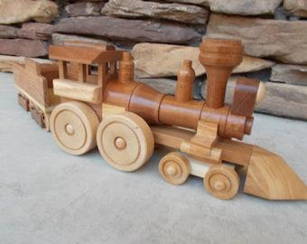 Wooden train, steam locomotive & tender