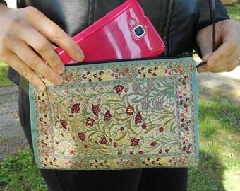 Daytime Bag, Women Shoulder Bag, Turquoise Bag, Floral Handbag, Floral Fabric Purse, Mothers Day Gift