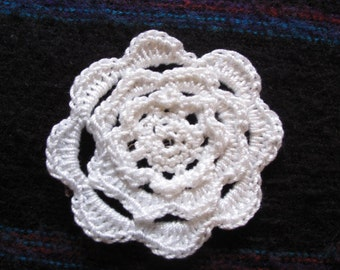 Crochet rose brooch