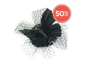 SALE!! Fascinator Headpiece Black Feathered Butterfly with Leopard Skin Fabric Base and Veil