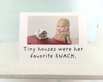 Holiday Gingerbread House Card Funny China Doll Stationary Tiny House Notecard