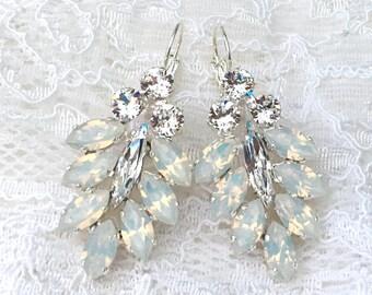 White Opal Earrings White Wedding White Bridesmaids Winter Wedding White Opal Swarovski Crystal Silver Bridal Earrings