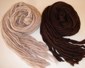 Merino Wool Pencil Roving, Ecru and Brown Merino Wool Pencil Top - great for Felting and Spinning - total 65 g