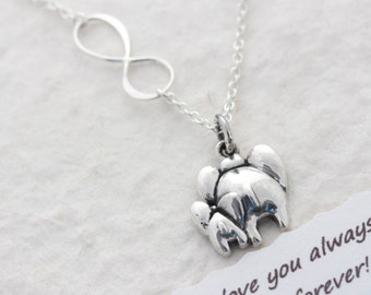 Elephant Necklace, Mother & Son Necklace. Elephant Jewelry, elephant necklace with baby elephant. COPYRIGHT MonyArt Original Design.