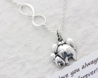 Elephant Necklace, Mother & Son Necklace. Elephant Jewelry, Mom Daughter, COPYRIGHT MonyArt Original Design.