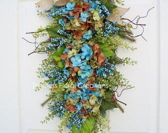 "Hydrangea Wreath Alternative Swag in Blue~""Denim Days""~Door Decoration~Front Door Hydrangea Wreath~Timeless Floral Creations"