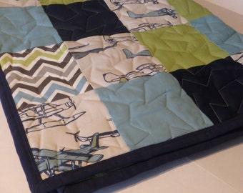 Vintage Air Patchwork Baby Minky Blanket or Quilt