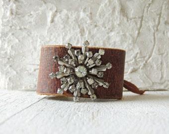 Art Deco Rhinestone Cuff/Rustic Wedding Cuff/Leather Cuff/Rhinestone and Leather Cuff/Leather Jewelry/40's brooch bracelet/Boho Chic/Western
