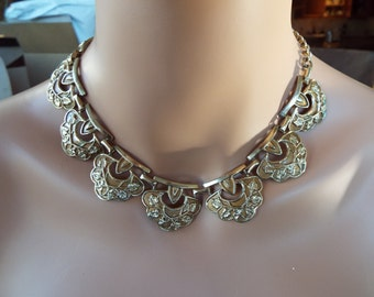 Egyptian Revival gold tone bib  scallop necklace Cleopatra necklace