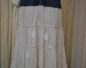 Upcycled denim skirt.....Boho....white lace.....size 3/4.....